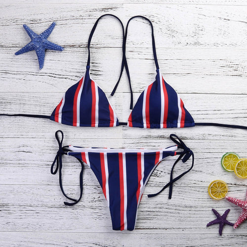 bb059015e77 USPS Women's Striped Bikinis Beachwear Swimsuit Push-up Swimwear Beach Suit  sexy Skinny Bodysuits swimming