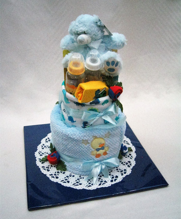 Baby nappy cake with teddy