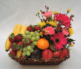 Seasonal fruit basket with flowers