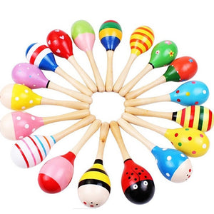 Colorful wooden musical rattle shakers toy for kids