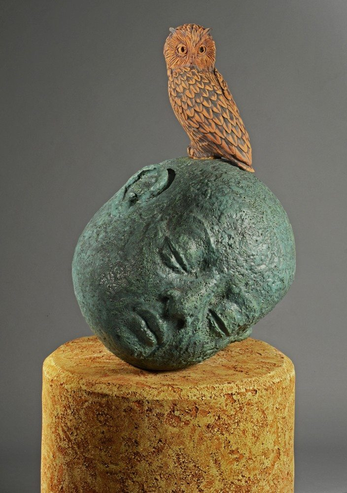 Owl Head with Pedestal