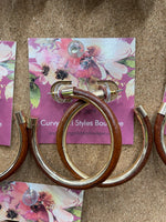 Brown Leather Hoops