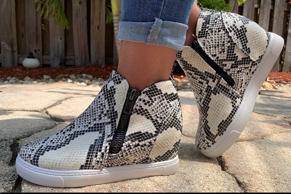 Snake Skin High Top Sneaker