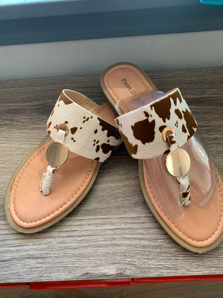 Beige Cow Hide Sandals