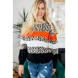 Orange Leopard Sweater