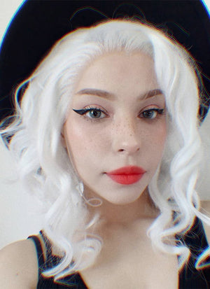White Wavy Bob Lace Front Synthetic Wig LF405