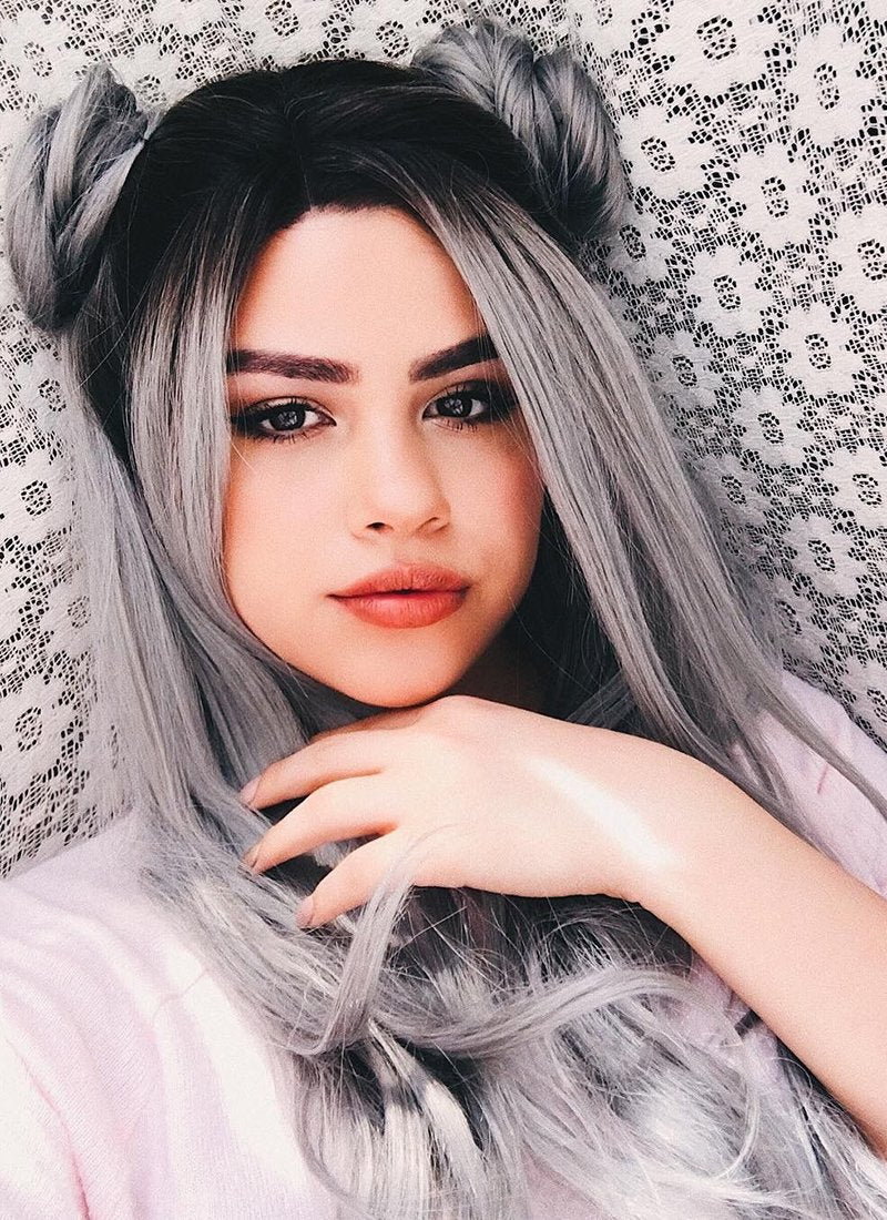 Wavy Grey With Dark Roots Lace Front Synthetic Wig LF697F - Wig Is Fashion Australia