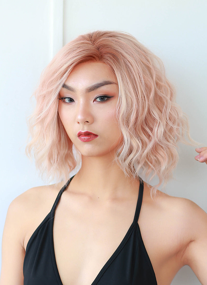 Pastel Peach Pink With Brown Roots Wavy Lace Front Synthetic Wig LN6007