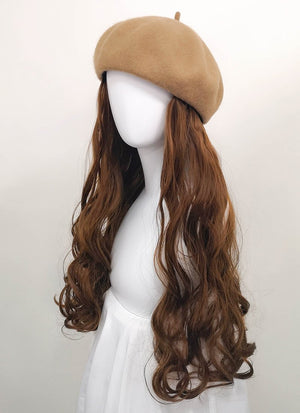 Camel Beret With Wavy Brown Hair Attached CW002