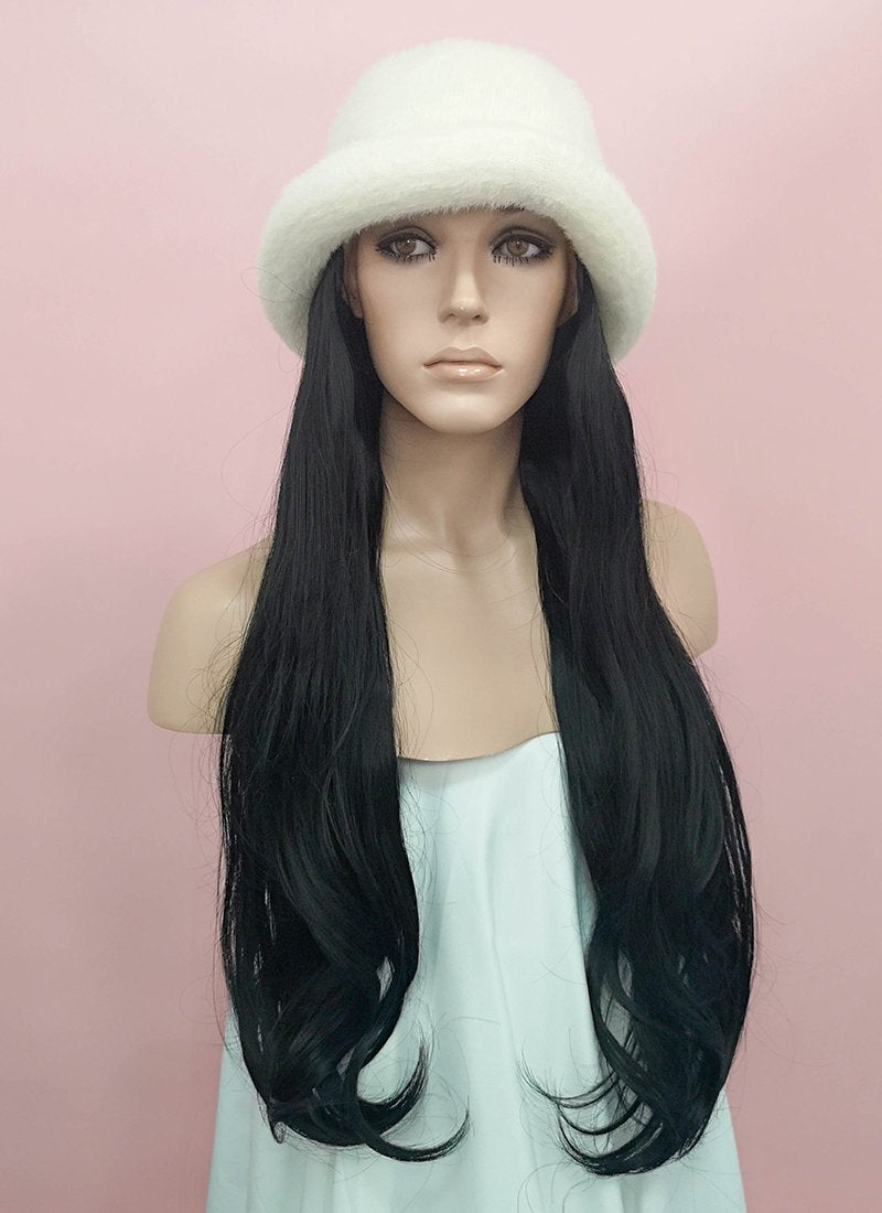White Bucket Hat With Wavy Black Hair Attached Cw009 Wigisfashion Ca