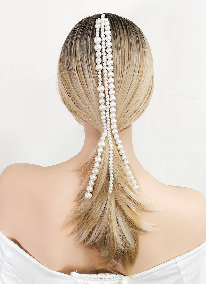 White Beads Strand Clip-on Hair Accessories HD002