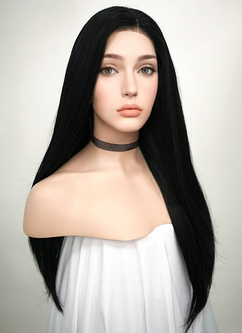 Straight Jet Black Lace Front Synthetic Wig LF002