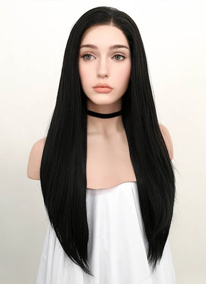 Straight Natural Black Lace Front Synthetic Wig LF003