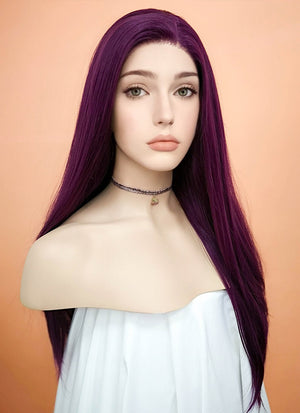 Straight Dark Purple Lace Front Synthetic Wig LF029
