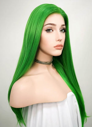 Straight Green Lace Front Synthetic Wig LF031