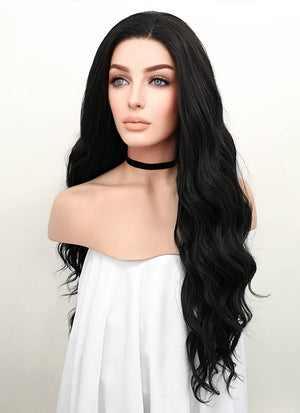 Wavy Natural Black Lace Front Synthetic Wig LF095
