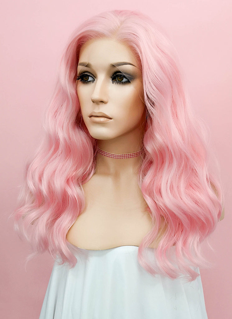 Pink Wavy Lace Front Synthetic Wig LF1269