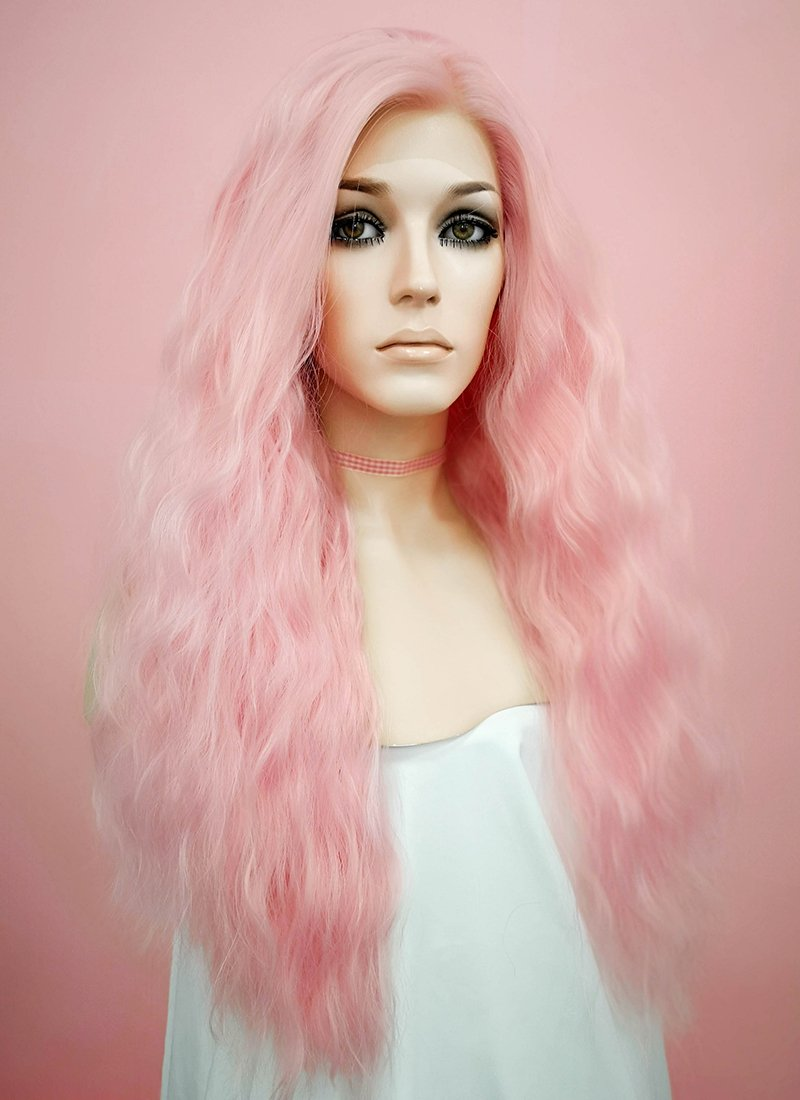 Pastel Pink Wavy Lace Front Synthetic Wig LF1276