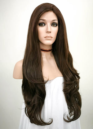 Brunette Wavy Lace Front Synthetic Wig LF146