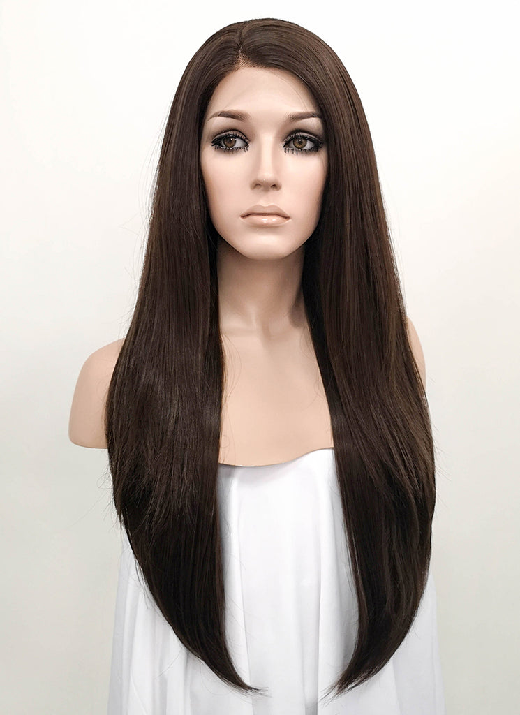 "24"" Brunette Straight Lace Front Synthetic Wig LF150 - WigIsFashion Canada"