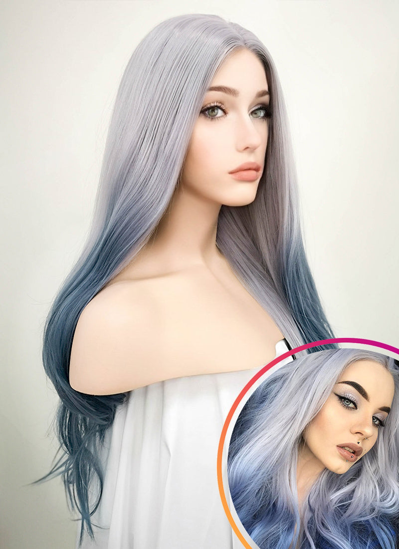 Pastel Two Tone Grey Wavy Lace Front Synthetic Wig LF1517