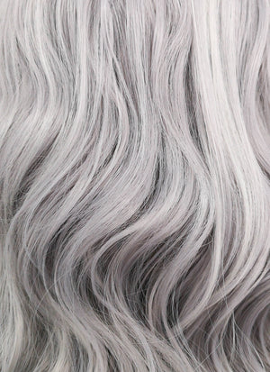 Pastel Silver Grey Wavy Bob Lace Front Synthetic Wig LF1532A
