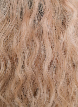 Peach Pink With Dark Roots Wavy Lace Front Synthetic Wig LF1583
