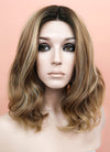 Mixed Brown With Dark Roots Wavy Bob Lace Front Synthetic Wig LF1666