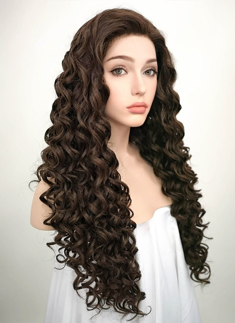 Brunette Spiral Curly Lace Front Synthetic Wig LF169