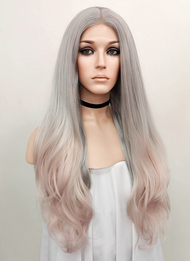 Grey Pink Ombre Wavy Lace Front Synthetic Wig LF1706