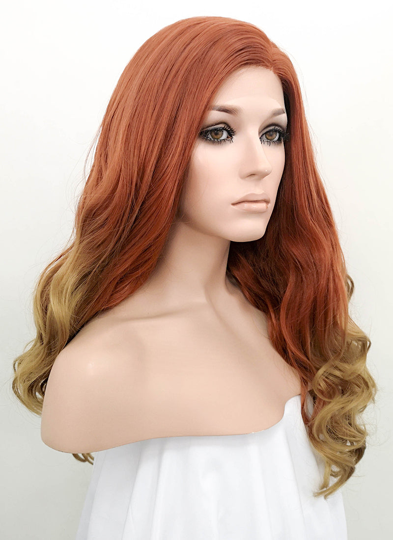 Auburn Blonde Ombre Wavy Lace Front Synthetic Wig LF1707