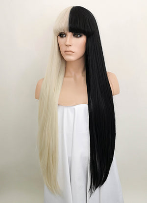 Blonde Black Split Color Straight Lace Front Synthetic Wig LF1507