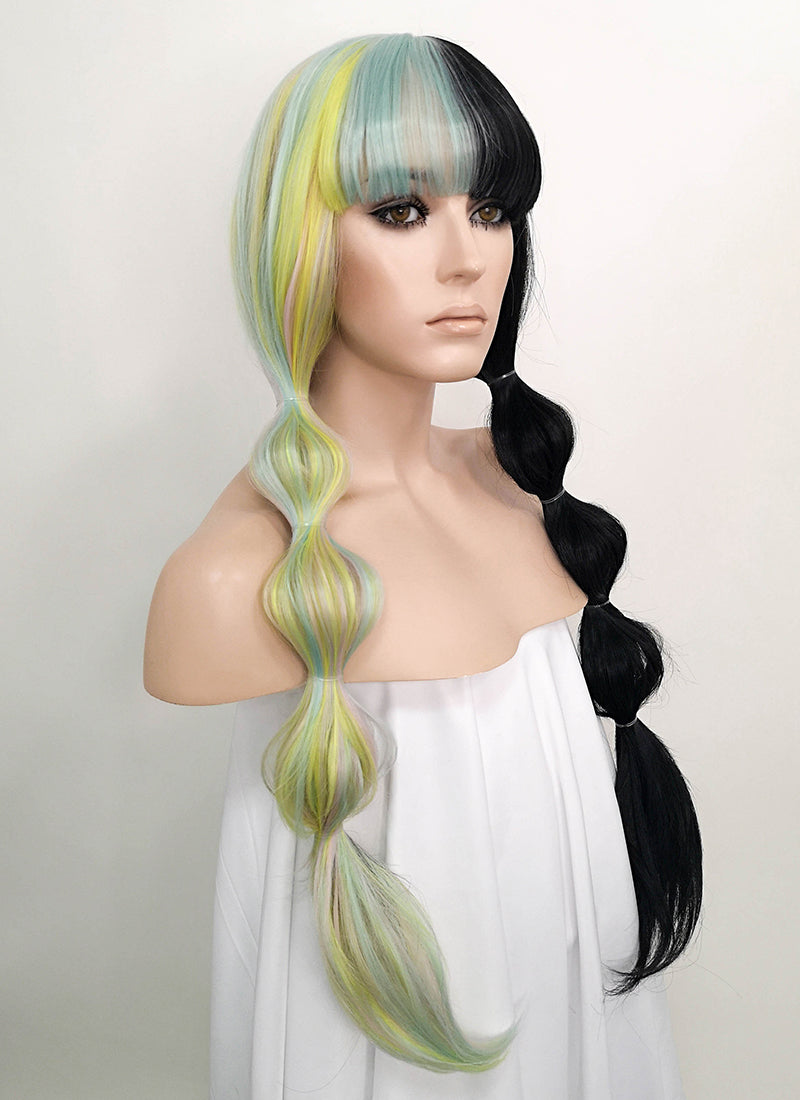 Multi-Color Black Split Color Straight Lace Front Synthetic Wig LF1719