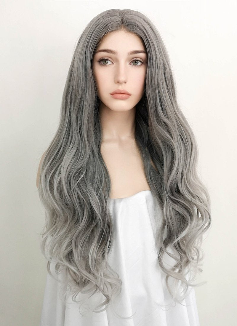 Two Tone Grey Wavy Lace Front Synthetic Wig LF1730