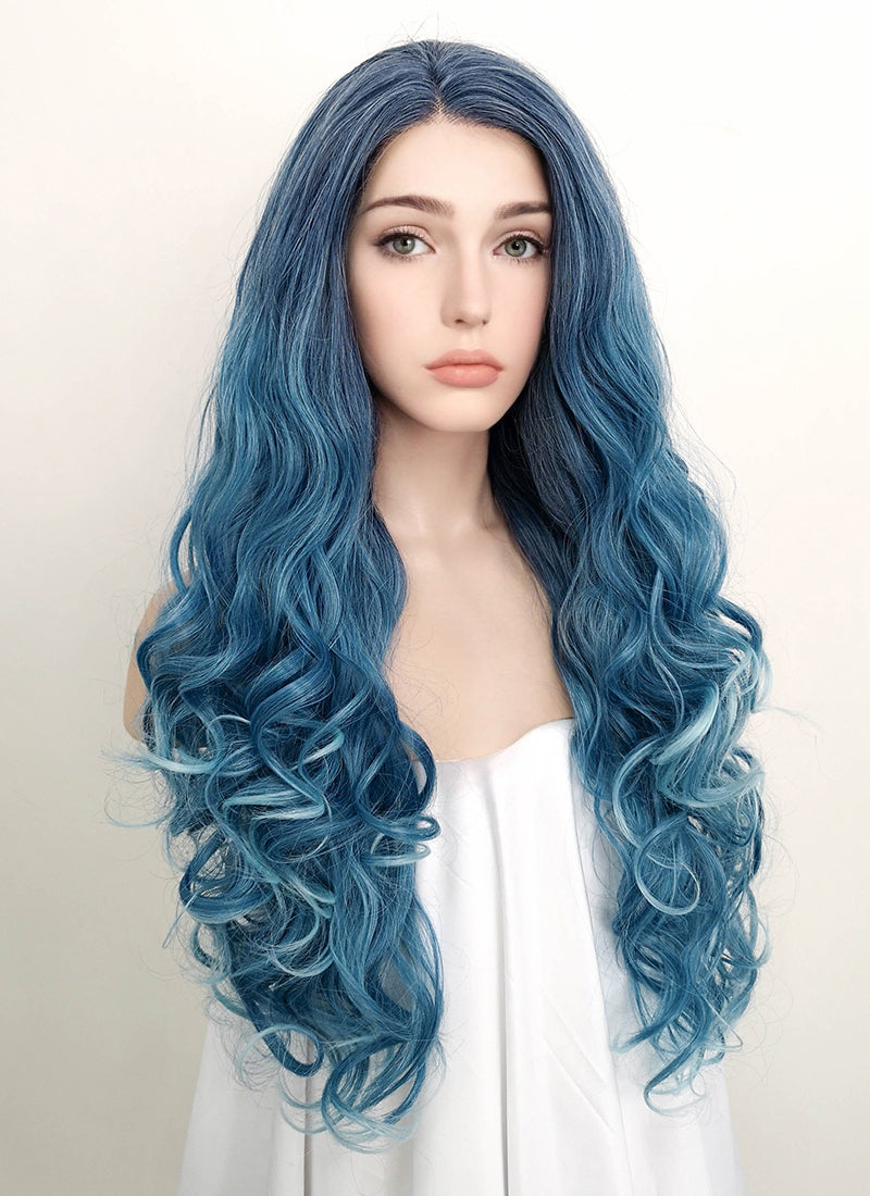 Mixed Blue Wavy Lace Front Synthetic Wig LF1731