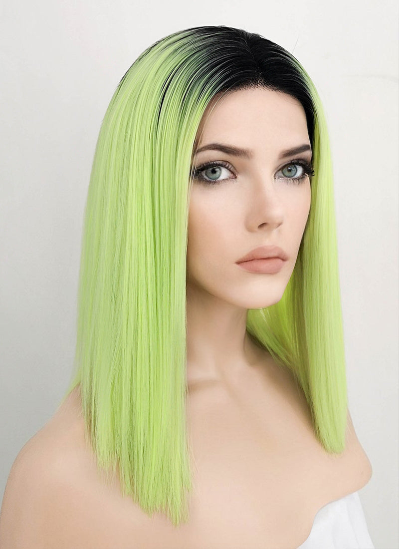 Neon Green With Dark Roots Straight Bob Lace Front Synthetic Wig LF1738