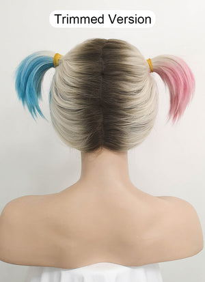 Birds of Prey Harley Quinn Blonde Pink Blue Ponytail With Brown Roots Wavy Lace Front Synthetic Wig LF1744