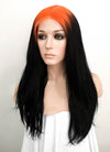Billie Eilish Black With Neon Orange Roots Wavy Lace Front Synthetic Wig LF1752