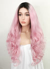Pastel Pink With Dark Roots Wavy Lace Front Synthetic Wig LF1763