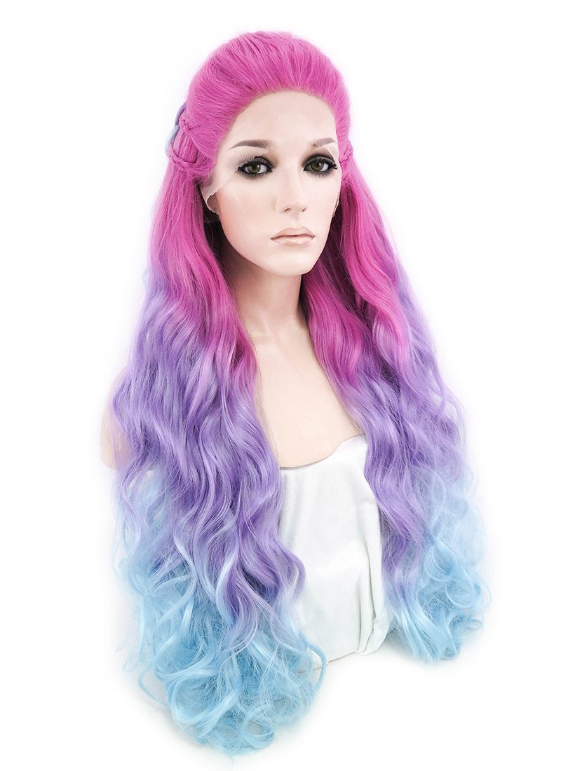 Magenta Purple Blue Ombre Braided Lace Front Synthetic Wig LF2001