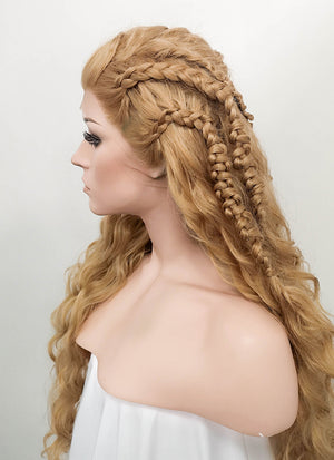 Wavy Golden Blonde Vikings Lagertha Braided Lace Front Synthetic Wig LF2023