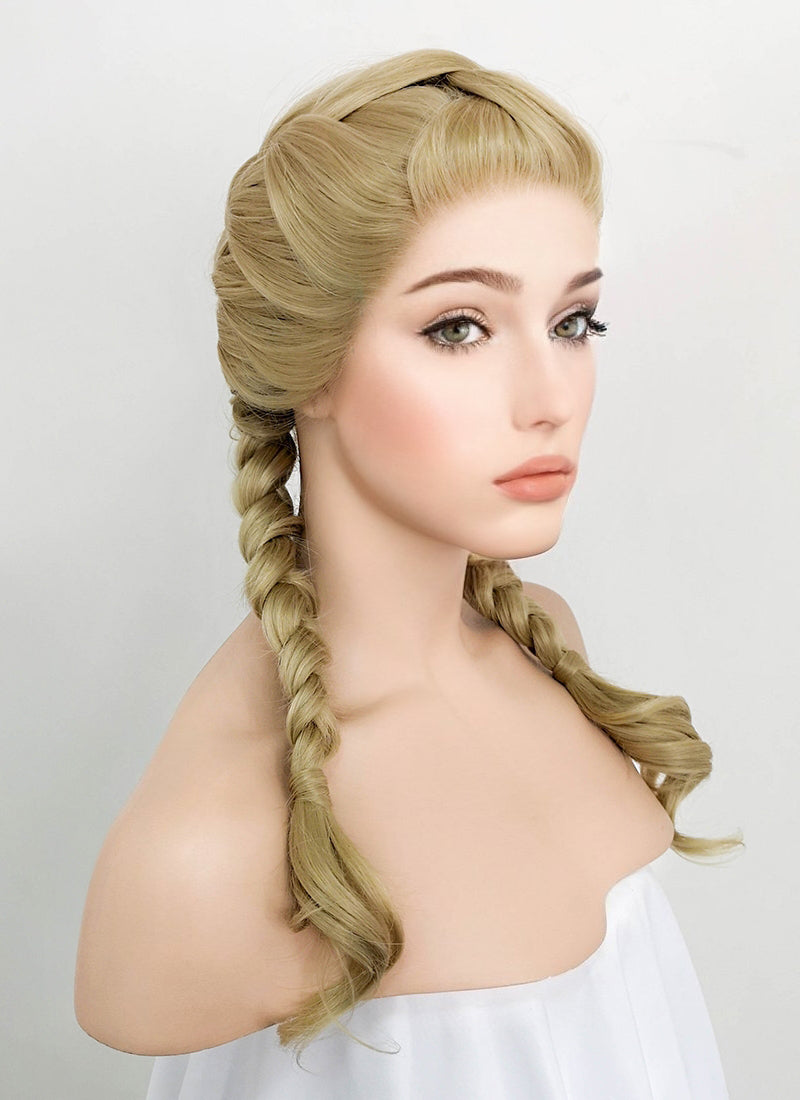 Ash Blonde Wavy Lace Front Synthetic Wig LF2055