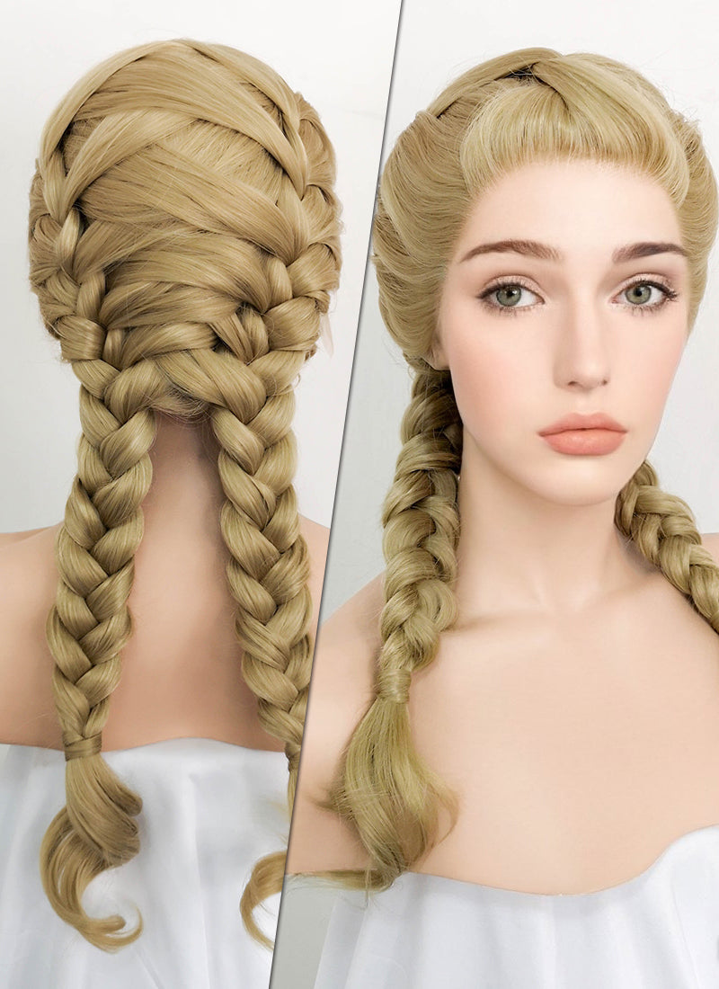 Ash Blonde Braided Lace Front Synthetic Wig LF2055