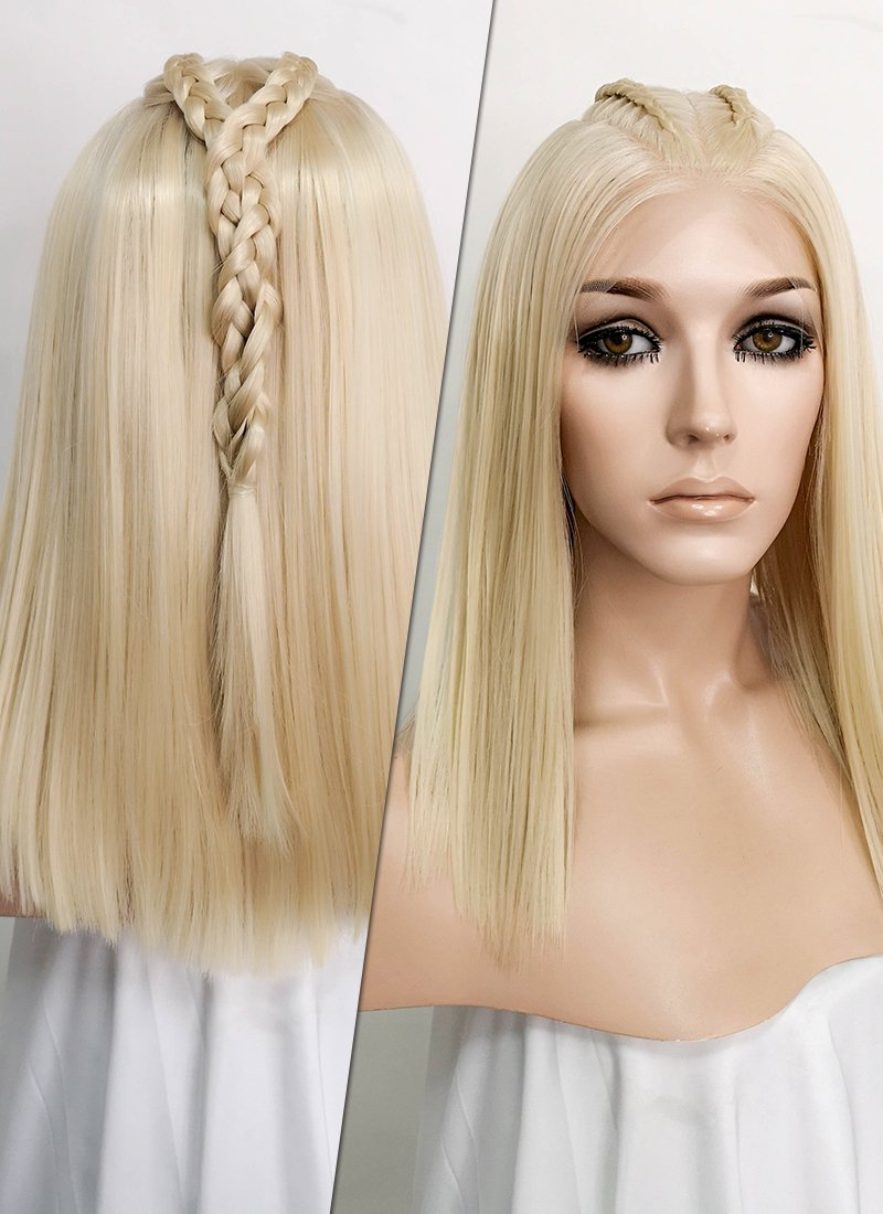 "Pastel Blonde Braided 13"" x 6"" Lace Top Synthetic Wig LF2060"