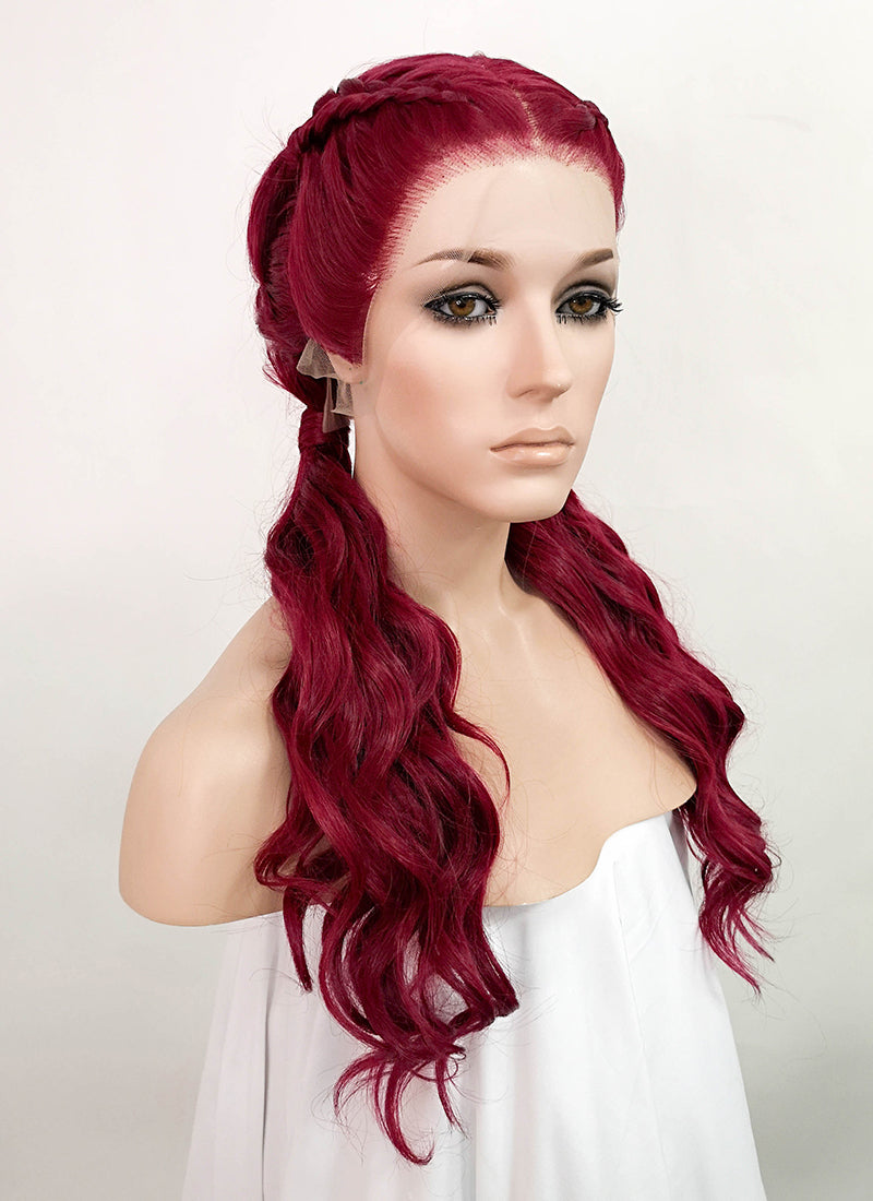 "Red Braided 13"" x 6"" Lace Front Synthetic Wig LF2064"