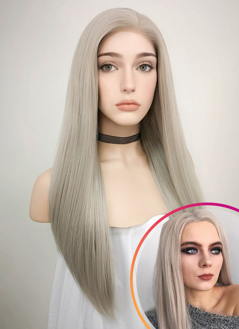 Pastel Grey Blonde Straight Lace Front Synthetic Wig LF238