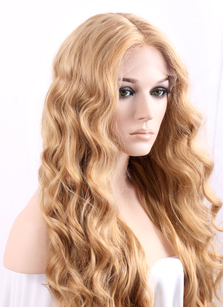 "26"" Wavy Golden Blonde Lace Front Synthetic Wig LF244 - WigIsFashion Canada"