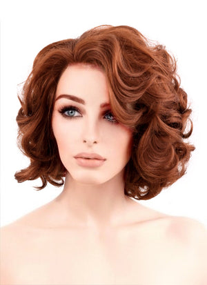 Auburn Wavy Bob Lace Front Synthetic Wig LF253