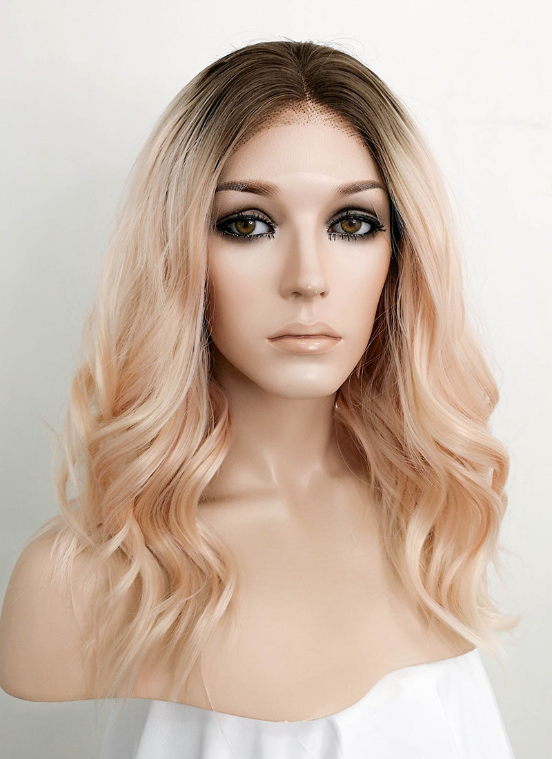 Pastel Peach Pink With Dark Roots Wavy Lace Front Synthetic Wig LF3121