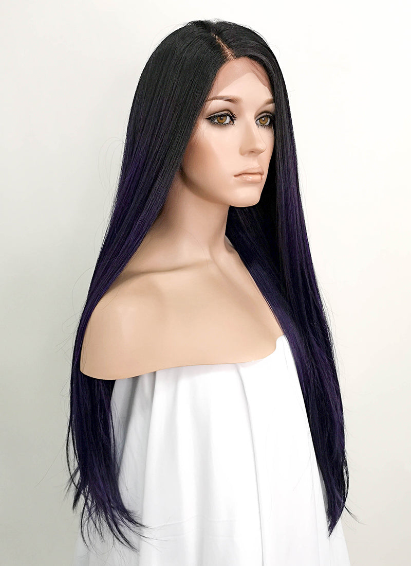 Dark Purple With Dark Roots Straight Lace Front Synthetic Wig LF3135
